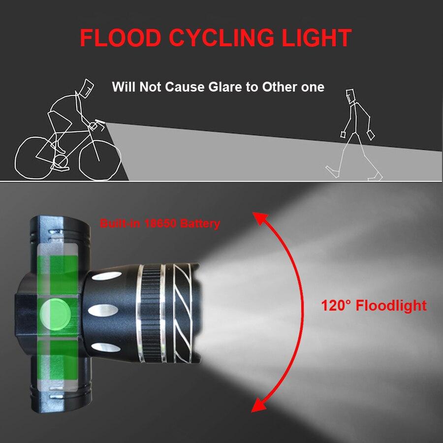 Велосипедный светильник NEWBOLER, 5000 мА/ч, набор, T6, USB, перезаряжаемый аккумулятор, регулируемый, с увеличением, для велосипеда, передний головно...
