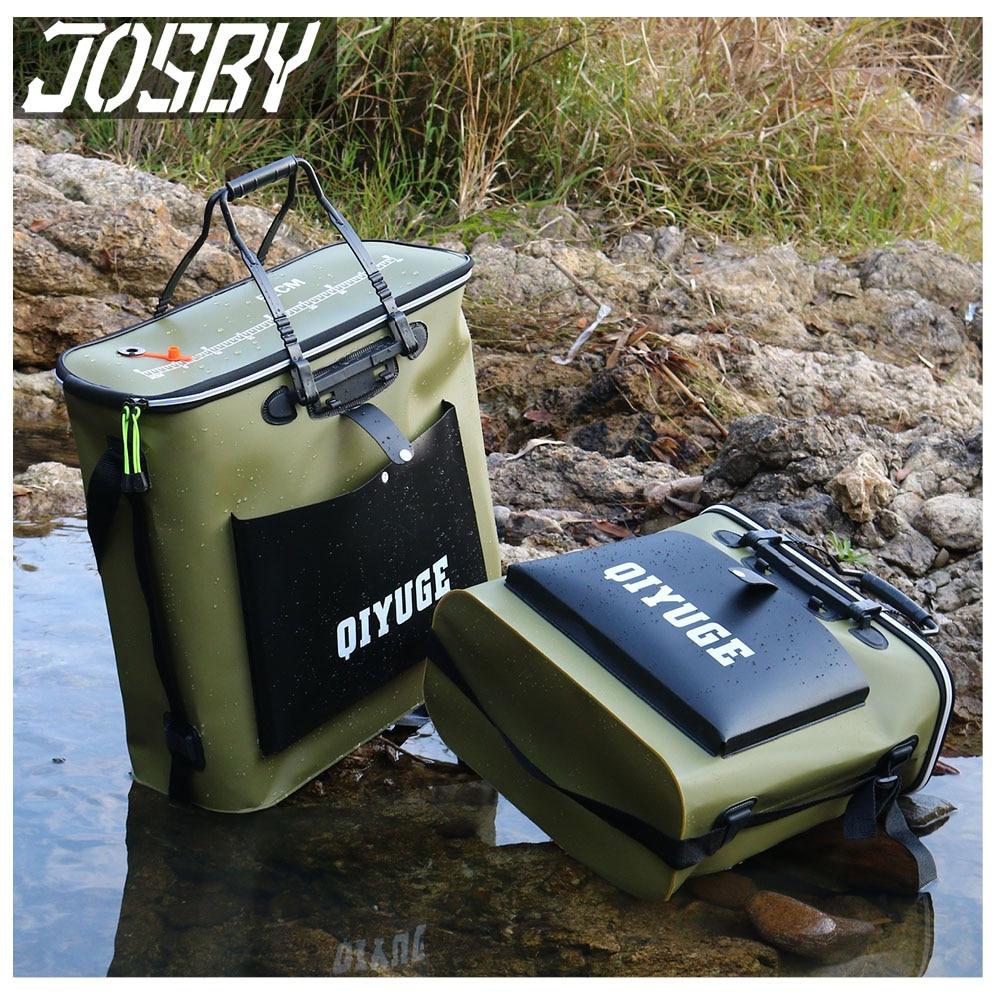 JOSBY Portable Zipper Fishing Bucket Pesca Outdoor Folding EVA Fishing Bag Live Fish Bucket Camping Hiking Fishing Bag