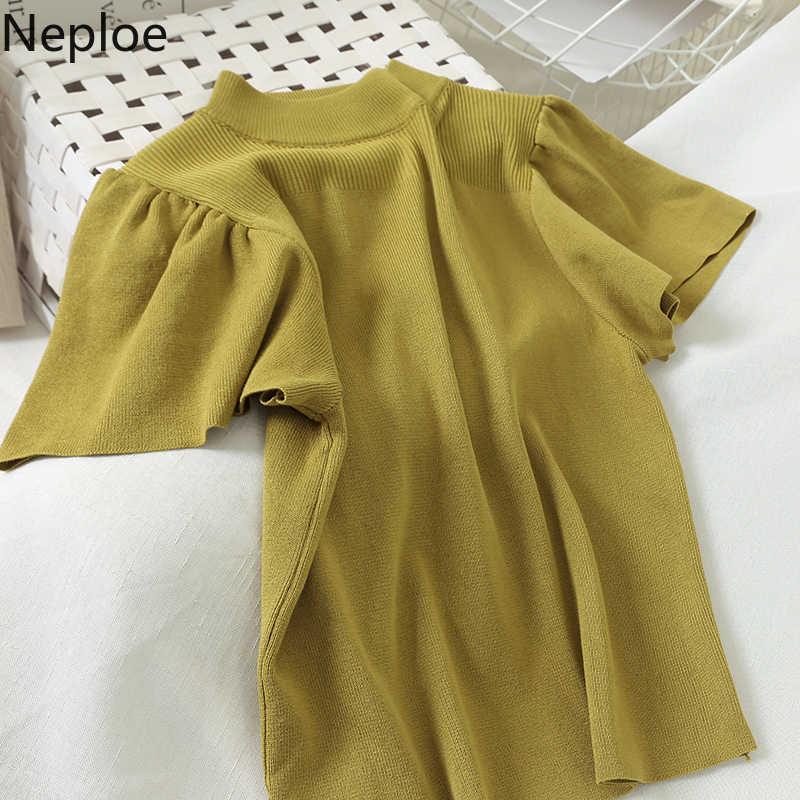 Neploe 2020 Mulheres Sólidos Puff Luva Blusas Coreano Do Vintage O-pescoço Pulôver de Malha Puff Manga Curta Jumper Sueter Mujer Femme