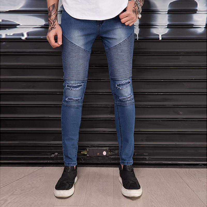 Biker JEANS Body Men Blue Jeans Pleated Knee With Holes Skinny Men's Locomotive Trousers