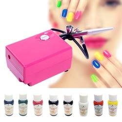 Multi Style Airbrush Nail Art Kit Aerograph paint for nail Air Brush Compressor + 8 Basic Color Pigments For Nail Tattoo