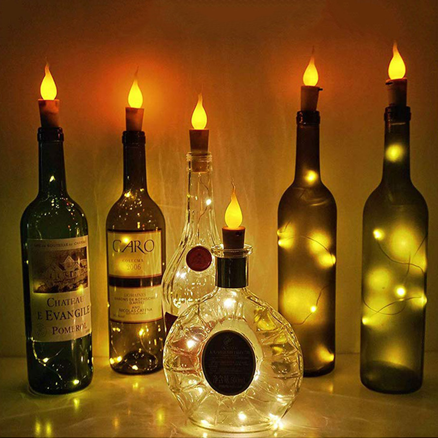Thrisdar 2M 20LED Candle Flame Cork Light Wine Bottle String Light Christmas Copper Wire Fairy Light Party Wedding Garland Light