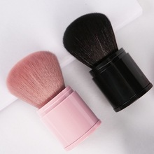 New black makeup brush, retractable single pink blush brush, powder brush, portable loose powder brush, easy to carry, soft and single antibacterial bamboo charcoal fiber powder blush brush tool