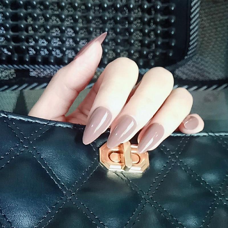 Nusx French Stiletto False Nails Designs Medium Long Natural