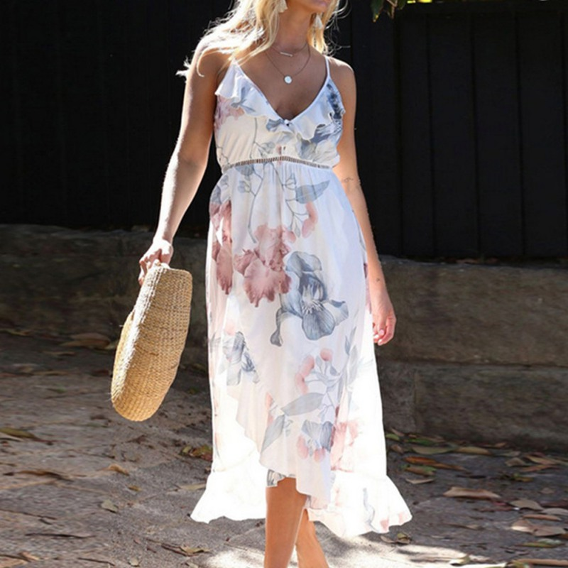 Boho Floral Print Women Dress Backless Halter Deep V Neck Maxi Beach Bohemia Dresses Temperament Sleeveless Sundress Dress in Dresses from Women 39 s Clothing