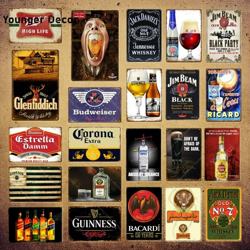 Klasik şarap viski Metal işaretleri Estrella Damm bira plak eski Bar Pub kulübü Man Cave duvar dekor siyah parti afiş YI-071