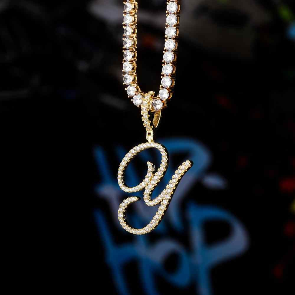 Goodserver Iced-Out Hip hop A Z Initial Customized Cursive Letters Pendant with Tennis Chain Cursive Letters Necklace for Men Women