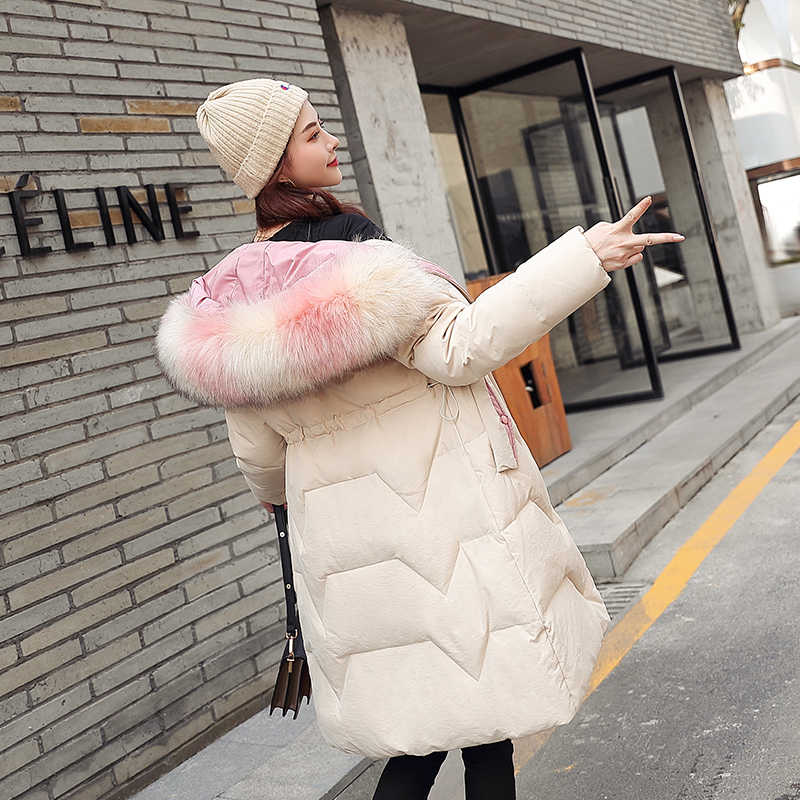 冬のジャケットの女性大毛皮の襟暖かいパーカーミディアムロングカジュアルフード付きプラスサイズ雪のオーバーコート