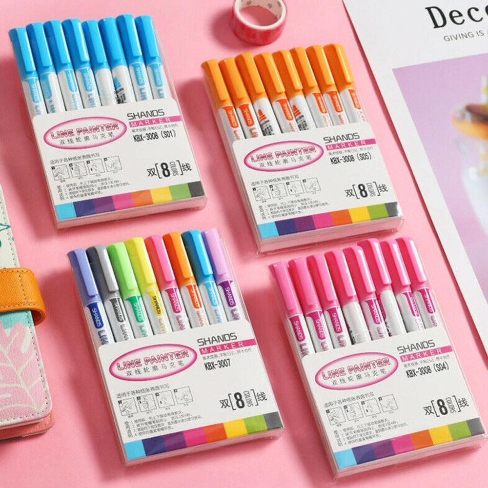 8pcs/set Glitter Color Fluorescent Marker Metal Color Pen Double Line Contour Pen