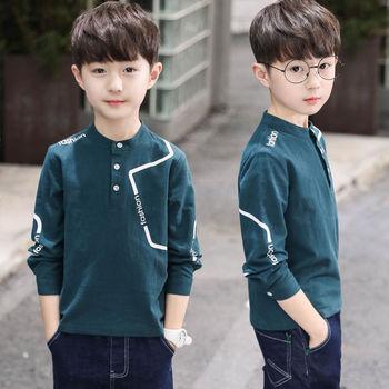 Chłopcy koszulki dzieci jesień wiosenne koszulki odzież dziecięca t-shirty dla chłopców z długim rękawem t-shirty 2019 maluchy 110 ~ 150 tanie i dobre opinie COTTON Moda Stałe REGULAR O-neck Topy Tees Pełna Pasuje mniejszy niż zwykle proszę sprawdzić ten sklep jest dobór informacji