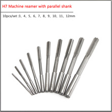 цена на 10pcs/set  3-12mm HSS Machine reamer with parallel shank  H7 H8 accuracy Straight Shank Milling Chucking Reamer Machine Cutter