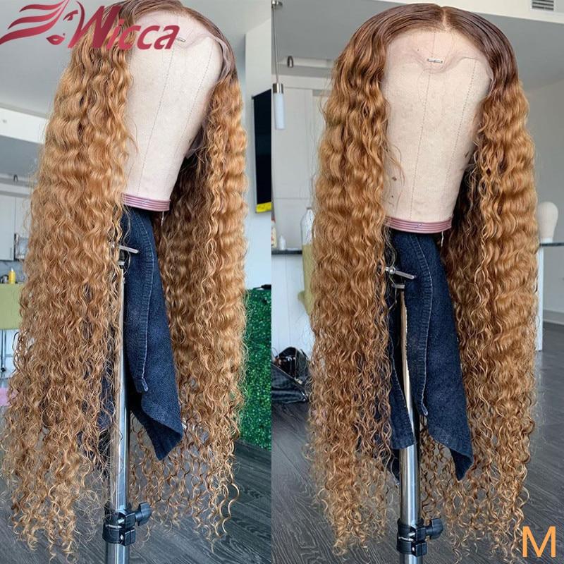 Dingca perucas cabelo encaracolado, 13x6 180 de densidade frontal, mel, cabelo humano, pré selecionado, remy brasileiro para mulheres
