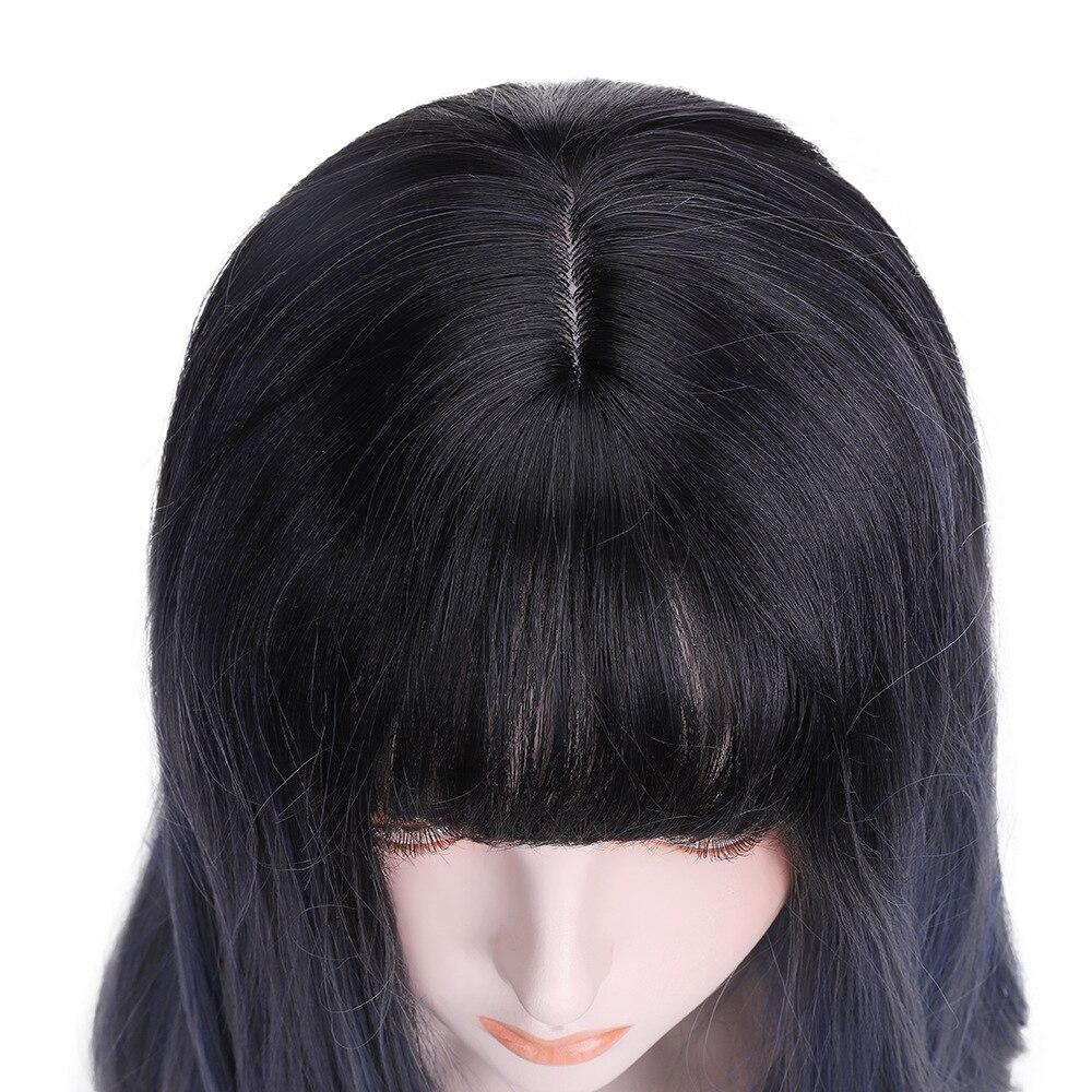 franja marrom destaques longo ondulado cabelo sintético