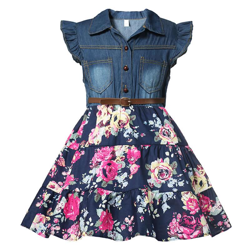 MUABABY детское джинсовое платье с цветочным рисунком, летняя детская приталенная повседневная одежда с рукавами-крылышками и оборками для ма...