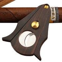 Galiner portátil cortador de charuto aço inoxidável madeira dupla afiada lâmina corte charuto guilhotina com caixa presente