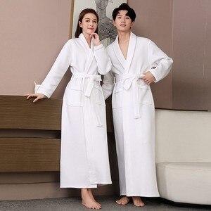 Image 2 - Lovers Autumn Robe Cotton Quilted Ultra Long Sleepwear Water Absorption Kimono Bathrobe Gown Warm Nightwear Sexy Nightgown
