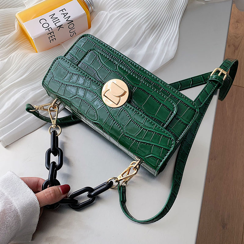 Chain Designer Stone Pattern PU Leather Crossbody Bags For Women 2020 Luxury Quality Shoulder Messenger Bag Handbags And Purses