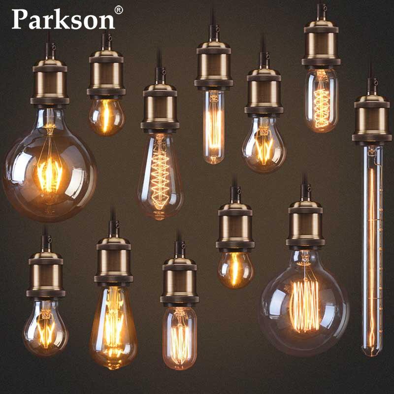 Ретро Edison led светильник лампочка E27 110V 220V 40W ST64 T45 G80 G95 G125 с регулируемой яркостью Эдисон лампы ампулы Винтаж лампа накаливания светодиодные л...