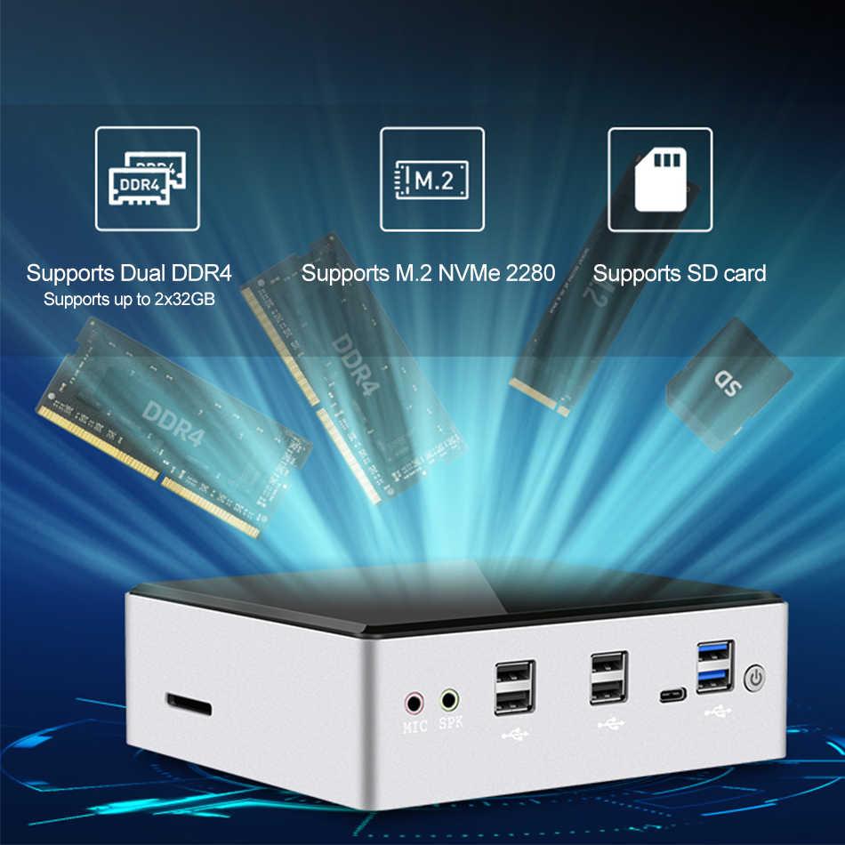 XCY Mini PC Intel Core i7 10510U Linux Thin Client Micro Computadores de mesa Melhor Computador industrial Win 10 Minipc 2 Lan Port 4K i5 8350U 8250U 7200U 7500U 6500U 8650U 8550U i3 7020U Computador Windows DDR4