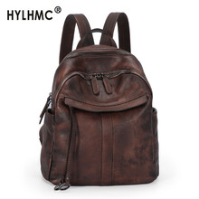2020 New Retro Leather Women Backpack Female Travel