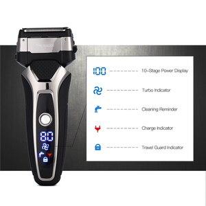Image 4 - Máquina de afeitar eléctrica recargable para hombre, maquinilla de afeitar inalámbrica de acero inoxidable con hoja flotante 3DTriple, afeitadora resistente al agua
