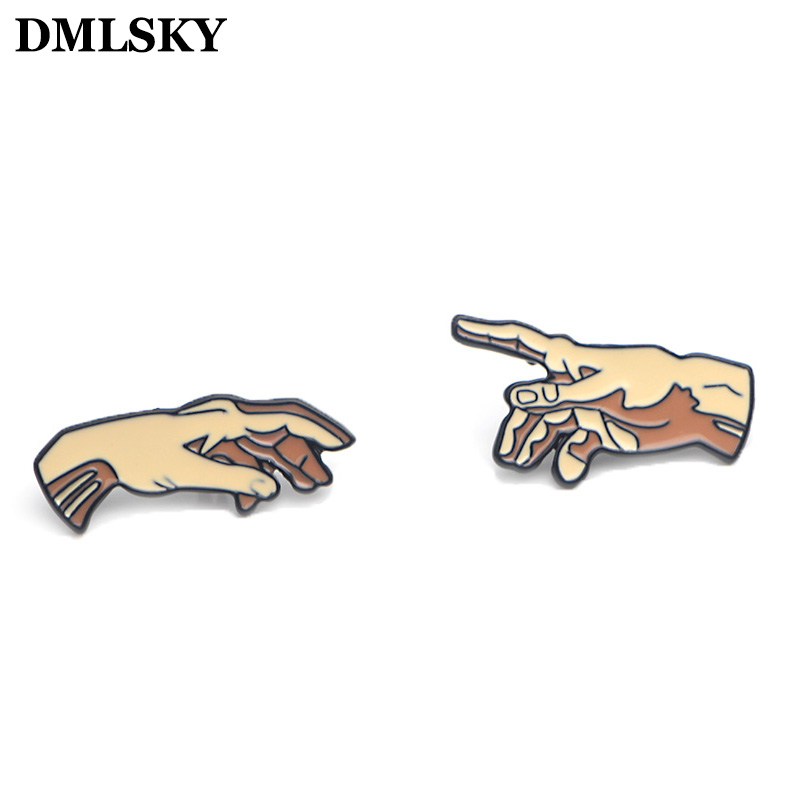 DMLSKY 2pcs/set Creation Art of Adam Enamel Pins and Brooches Lapel Pin Backpack Bags Badge Clothing Decoration Gifts M3546