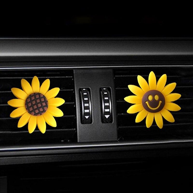 Автомобильные аксессуары для девочек, освежитель воздуха, милый автомобильный парфюм, Подсолнух, вентиляционный зажим, автомобильный аром...