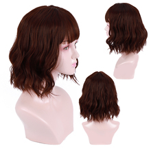 цена на WTB Synthetic Wigs Purple Black Color with Bangs for Women Short Women's Hair Wig Natural Wave Cosplay Heat Resistant Fiber
