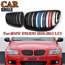 MagicKit Pair Gloss Black M Color Car Front Kidney Grille Grills For BMW E92 E93 3-Series 2D LCI 328i 335i Coupe Convertible M4 car styling glossy black m color front grille grilles for bmw 6 series e63 e64 m6 05 10 convertible coupe auto car styling