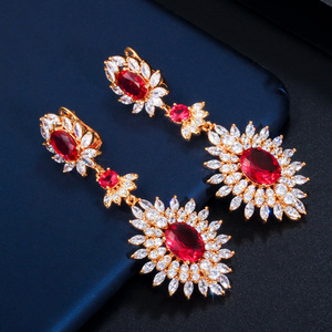 Image 5 - CWWZircons Yellow Gold Color Indian Red CZ Crystal Vintage Ethnic Bridal Long Big Wedding Earrings Jewelry for Women CZ301