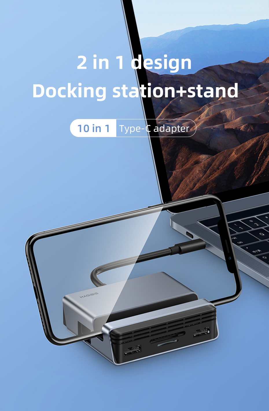 Hagibis USB C Hub Type-C Docking Station Type-C to 4K HDMI-compatible PD SD/TF Card Reader RJ45 Phone Holder Stand For MacBook
