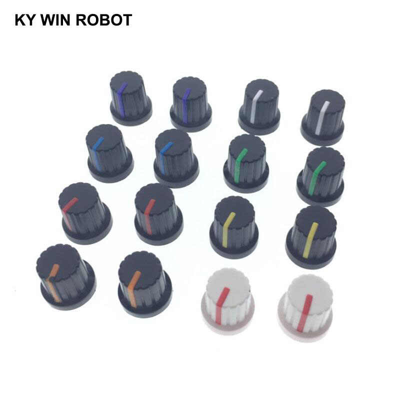 10pcs WH148 potentiometer knob cap 6mm Shaft Hole Assorted Kit White Green Red Blue Yellow Orange Purple DIY Switch Knob 15x15mm