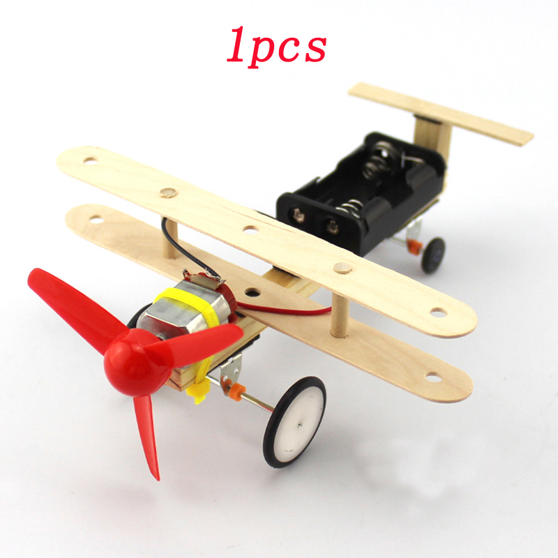 1pcs DIY Assembly Wind Power Model Airplane Electric Motor Drive Propeller Mini Aircraft for Student Science Experiment Hand-on image