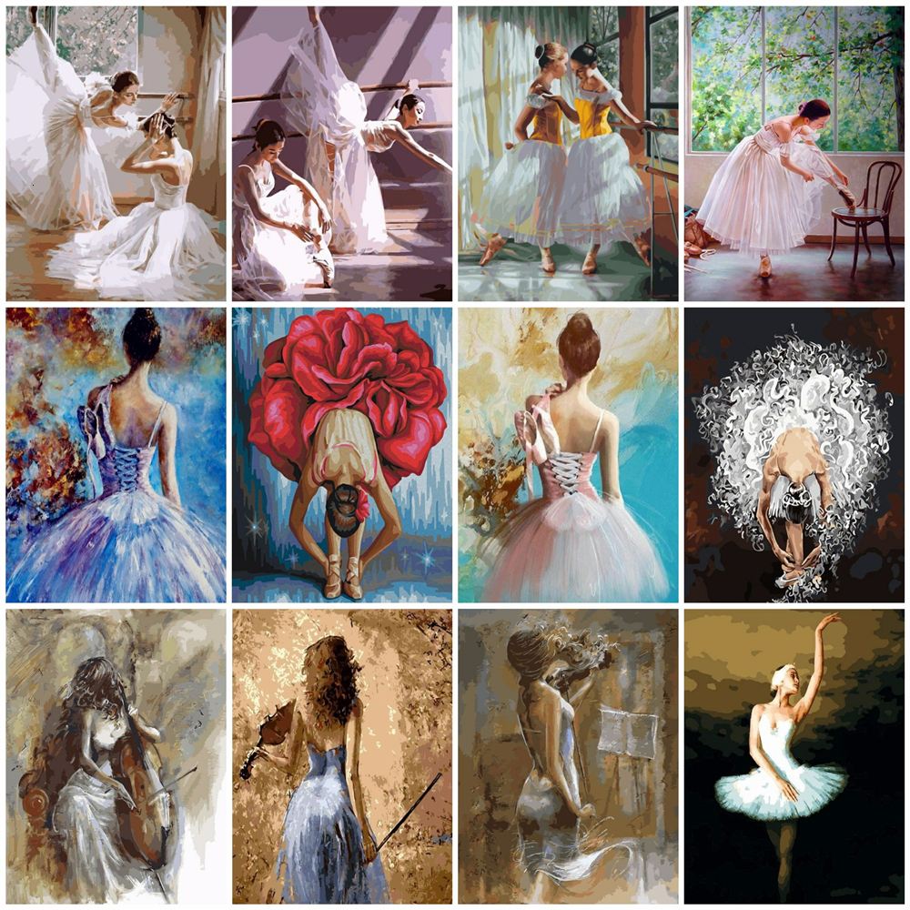 HUACAN DIY Pictures By Numbers Ballet Girl Kits Drawing Canvas HandPainted Oil Painting By Number Dancer Figure Home Decor