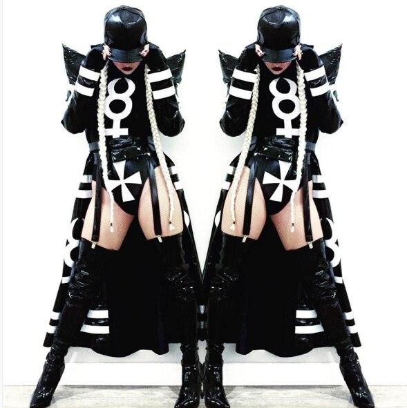 2019 New Sexy Nightclub Clothes Female Girl Black Long Clock Jakcet Bodysuit Dj Singer Costumes Women Hip Hop Jazz Dance Costume