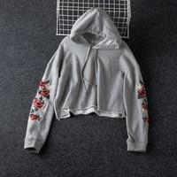 Autumn Flower Embroidery Sleeve Hooded Sweatshirt Women Fashion Hoodies For Woman Pullovers Fall Gray Short Sweatshirts Woman