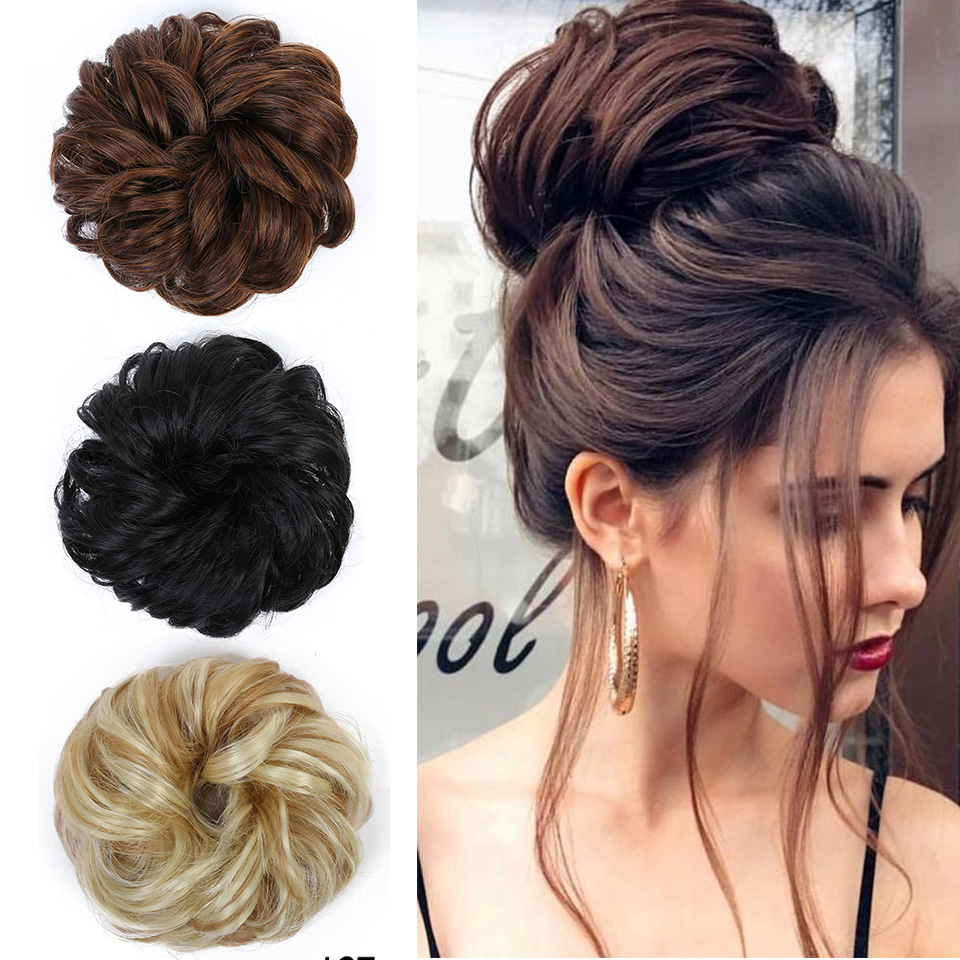 Lupu Elastic Hair Accessories Hair Band Hair Bun Hair Curly Natural Messy Woman's Hair Extension Hair High Temperature Fiber Wig