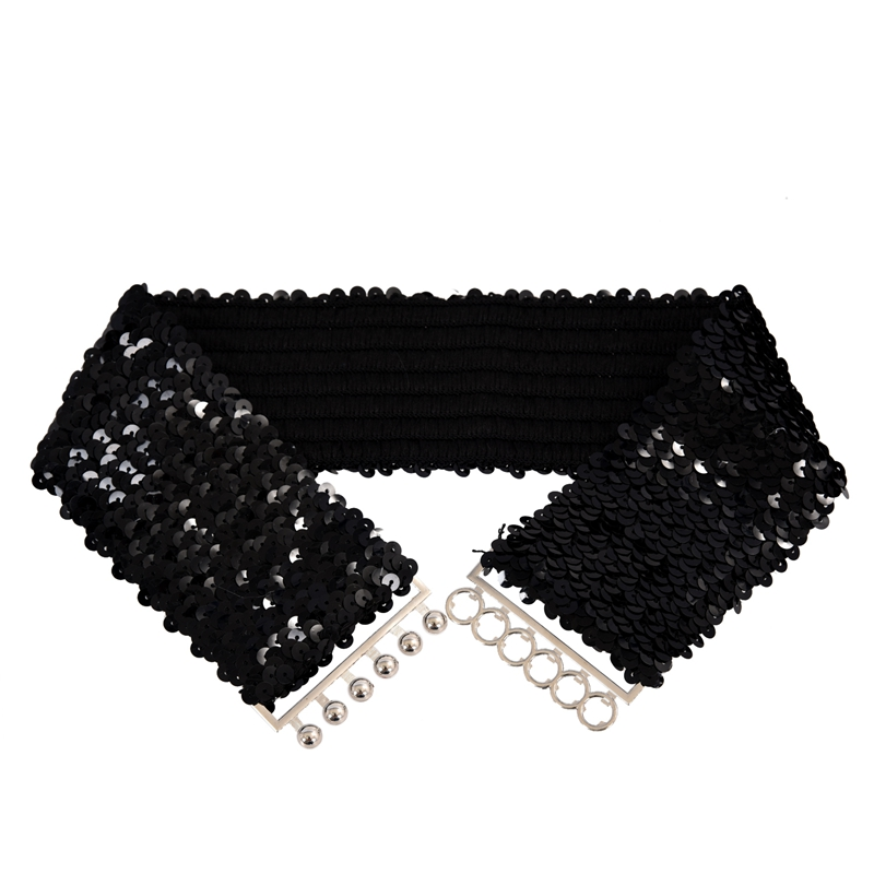 Black New Lady Fashion Sequins Elastic Stretch Shinning Waist Band Casual Belt