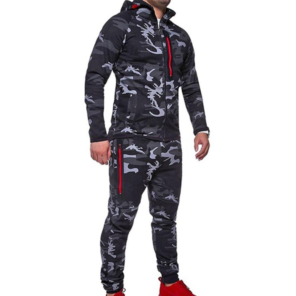 ZOGAA Men 2 Parts Hooded Sweatshirt And Sports Pants Set Camouflage Mandarin Collar Zipper Fly Military Full Sleeve