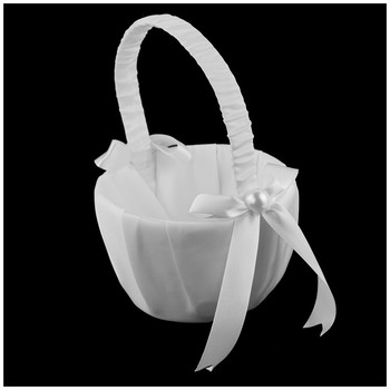 New Romantic White Satin Bowknot PEARL Flower Girl Basket Wedding Ceremony Party