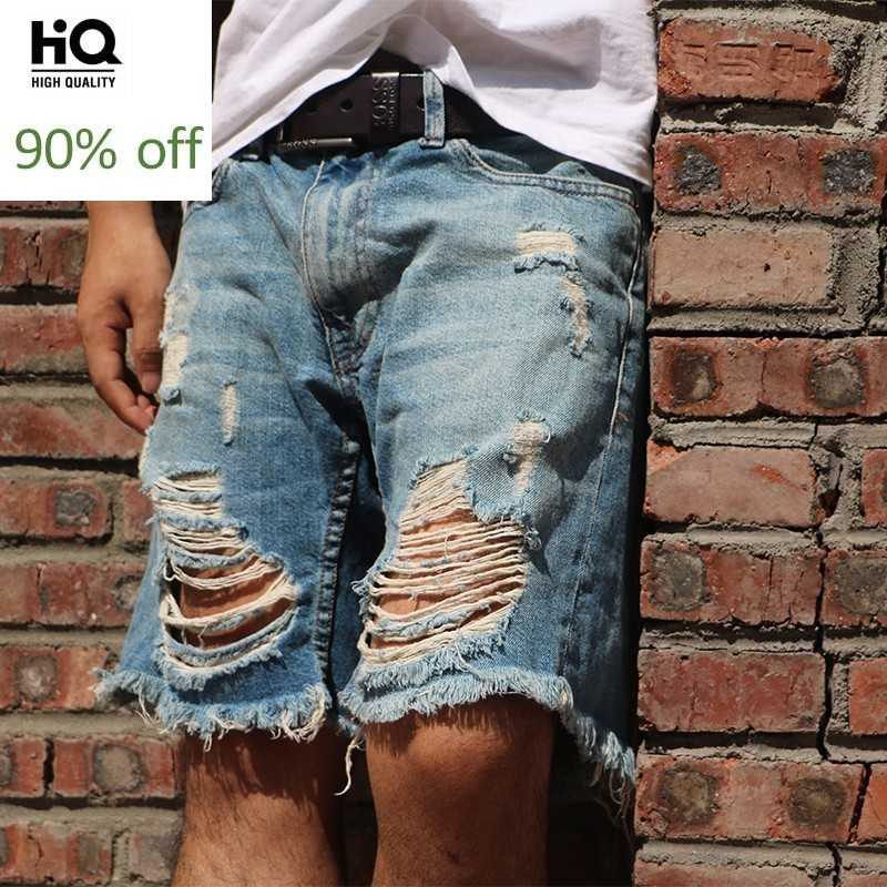 Classic Ripped Hole Jeans Shorts Men Loose Fit Vintage Beggar Short Pants Summer 2020 New Washed Blue Mens Cargo Denim Shorts