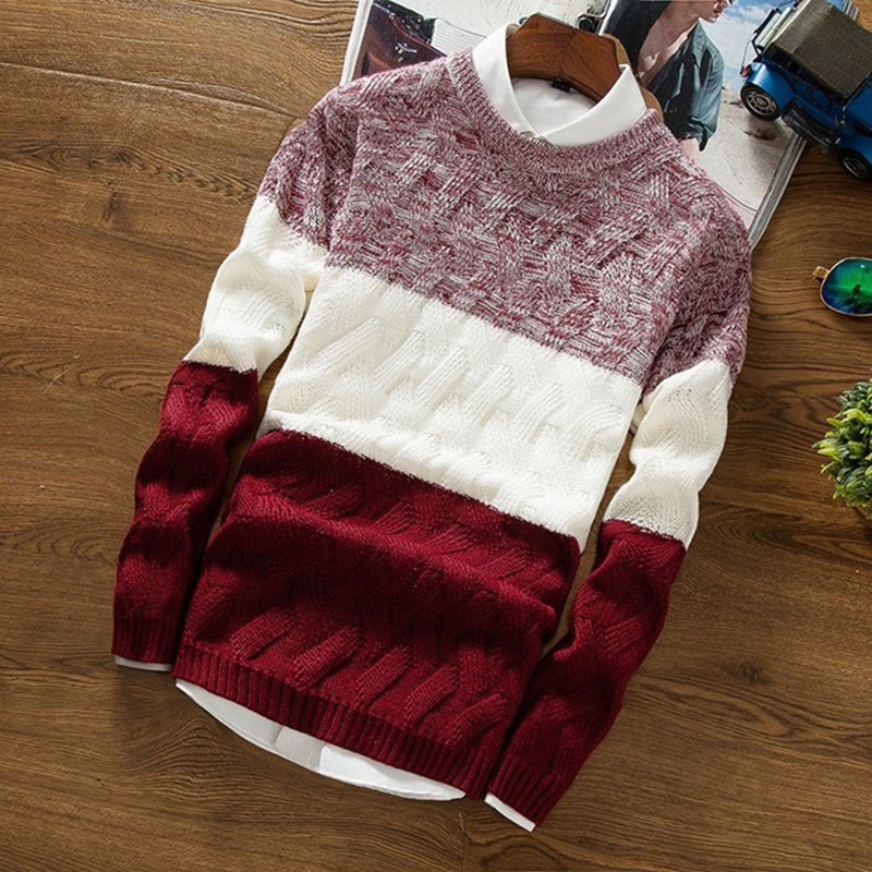 Man Autumn Winter Warm Round Neck Long Sleeve Sweaters Patchwork Color Knitwear Male Casual Multicolors Pullover Tops