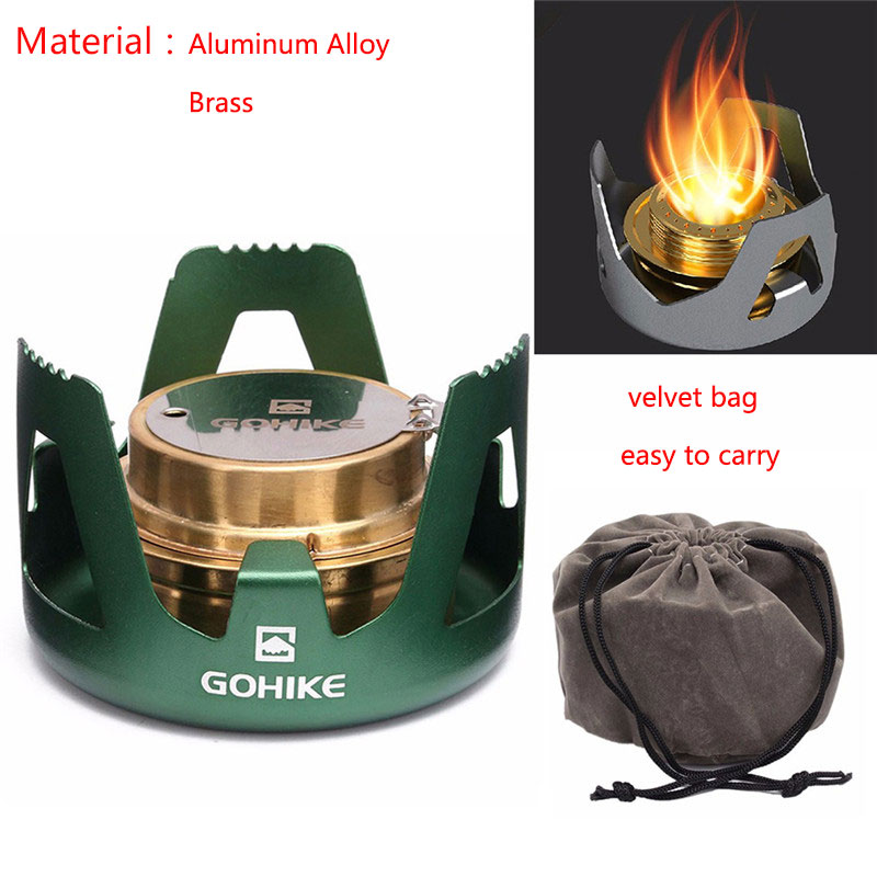 Alloy 1PCS Portable Outdoor Mini Practial Spirit Alcohol Stove for Picnic BBQ Hiking Ultralight Camping Stove BBQ Accessories
