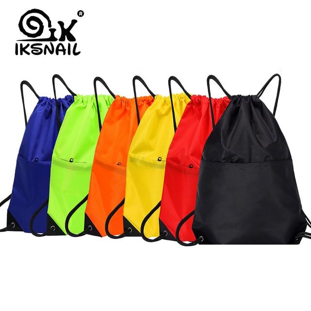 IKSNAIL Waterproof Zipper Gym Sport Fitness Bag Foldable Backpack Drawstring Shop Pocket Hiking Camping Pouch Beach Swimming Bag
