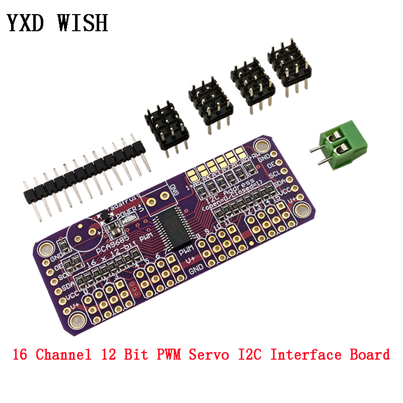 <font><b>16</b></font> Channel 12 Bit PWM/<font><b>Servo</b></font> <font><b>Driver</b></font> Board I2C interface PCA9685 For Raspberry pi IIC PWM Controller shield Module <font><b>Servo</b></font> Shield image