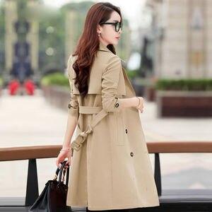 Image 4 - Primavera trench coat para a a primavera para mulher streetwear de volta gola dupla breastecasaco feminino plus tamanho 3xl xxxl sobretudo feminino