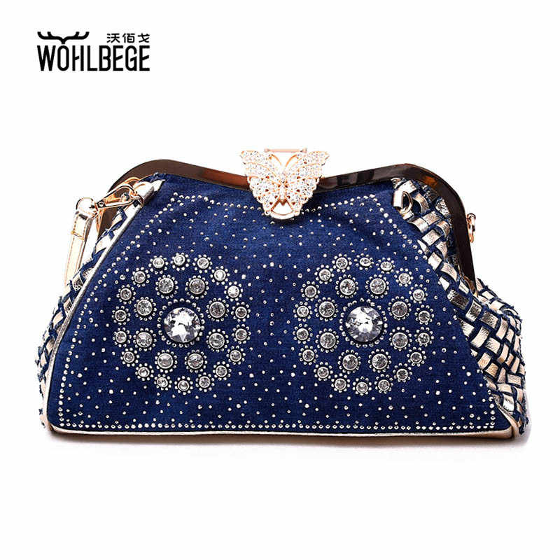 Women Denim Diamond-encrusted Hand Bag Butterfly Clip-knit Fashion Lady Party Bag