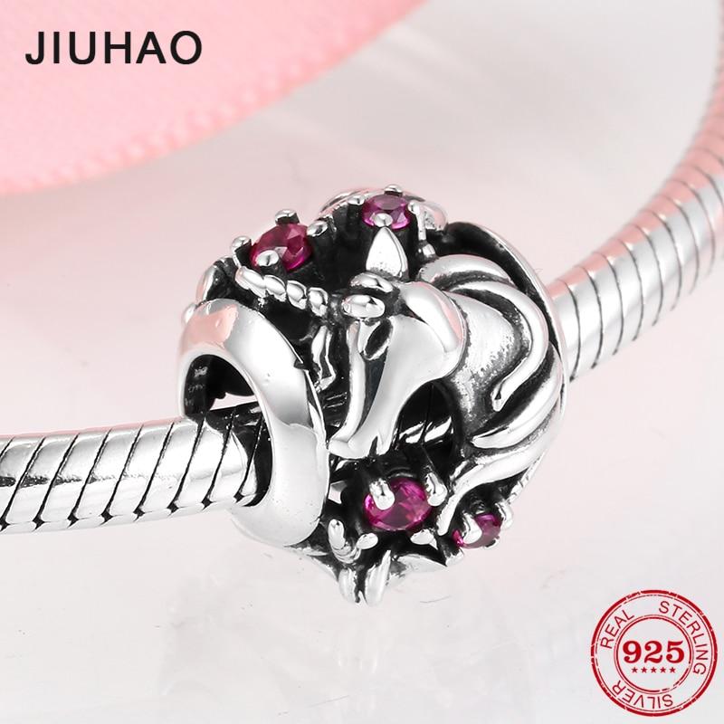 2019 Genuine 925 Sterling Silver Round Unicorn Pink CZ Beads Charms Fit Pandora Women Bracelets Bangles DIY Jewelry Making