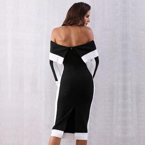 Image 5 - Seamyla New Long Sleeve Bodycon Bandage Dresses Women Vestidos 2019 Runway Party Dress Midi Celebrity Sexy Clubwear Dress Slim