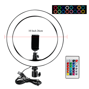 10 Inch Led Ring Light Usb RGB Ringlamp USB Light Ring Photo Selfie Lamp with Remote Phone Stand for Streaming Video Photography 15